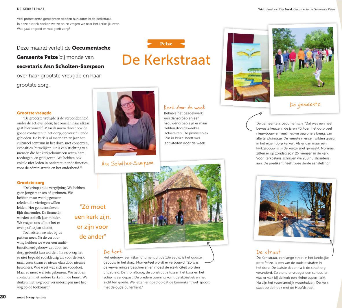 Artikel over de kerk van Peize in het kerkblad van de PKN